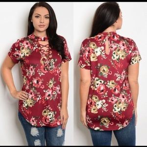 Tops - 🎉HP 3/24/18 ❤️Plus Size❤️WineMock Lace Up